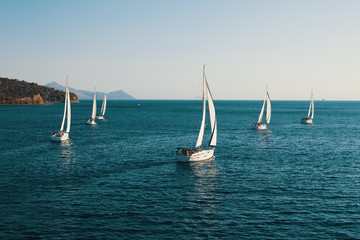 Fototapete - Luxury yachts at Sailing regatta at the Sea.
