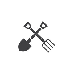 garden fork and shovel icon on the white background