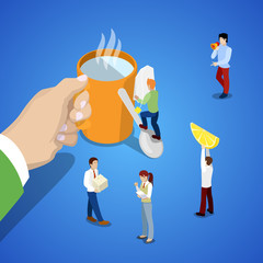Isometric Business Team Work. Hand with Cup of Tea and People. Vector 3d flat illustration