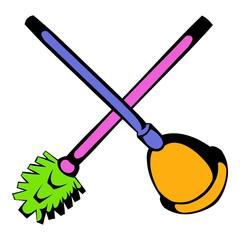 Toilet plunger and brush icon, icon cartoon