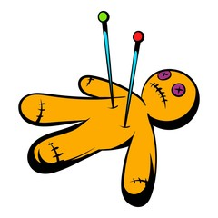 Voodoo doll icon, icon cartoon