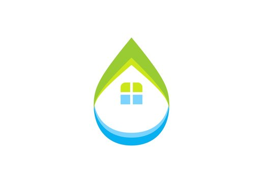 water drop house logo, home waterdrop plumbing symbol icon concept, water home illustration vector logo design template