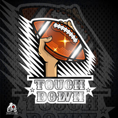 Hands hold american football ball touch down. Sport logo for any team or competition