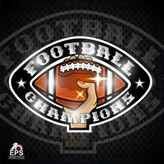Hands hold american football ball. Sport logo for any team or competition