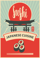 Vector banner with inscription Sushi, pictures sushi, itsukushima shrine gate, mountains and chopsticks. Hieroglyph Sushi
