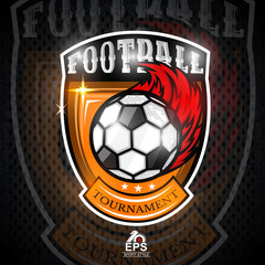 Soccer ball with fire trail in center of shield. Sport logo for any football team