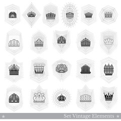 Set of different crowns with light ray isolated on white