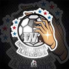 Two lady hands hold soccer ball with letter W. Sport logo for any football woman team or competition
