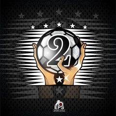 Two hands hold soccer ball with number two. Sport logo for any football team or competition