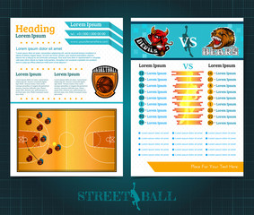Two sided basketball brochure or flyer, template design with two team players and statistic. Mock-up cover vector sport style