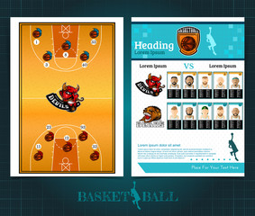 Two sided basketball brochure or flyer, template design with field, players and logo . Mock-up cover vector sport style