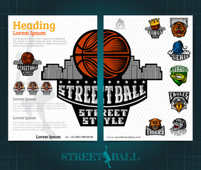 Two sided basketball brochure or flyer, street ball template design with team logos of championship. Mock-up cover vector sport style