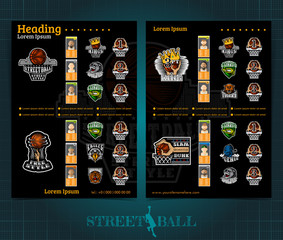 Two sided basketball brochure or flyer, street ball competition template design with logos teams and winners . Mock-up cover vector sport style