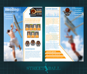 Two sided basketball brochure or flyer, street ball slam dunk competition template design with players and prize place. Mock-up cover vector sport style