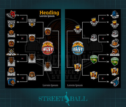 Two sided basketball brochure or flyer, street ball playoff template design with bracket tournament. Mock-up cover vector sport style