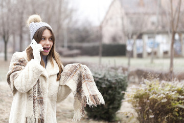 Young woman phoning