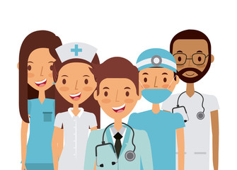 medicine professional people over white background. colorful design. vector illustration