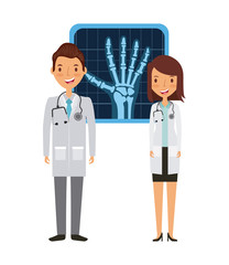 medical doctors with X Rays of hand over white background. colorful design. vector illustration