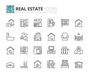 Outline icons about real estate