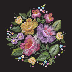 Embroidery colorful trend floral pattern. Vector traditional folk roses and forget me not flowers bouquet on black background for design.