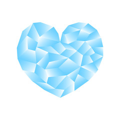 Polygonal heart vector illustration. Blue heart icon on white background square image