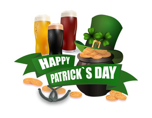 The green hat. Three kinds of beer. Pot with coins. Two leaves of clover. Horseshoes. An inscription for St. Patrick s Day. Isolated on white background. illustration