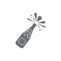 Champagne bottle explosion icon. Vector illustration