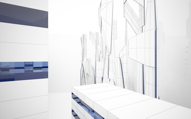 Abstract architectural background drawing of modern buildings with blue lines. 3D illustration and rendering