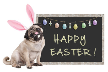 cute pug puppy dog with bunny ears diadem sitting next to chalkboard sign with text happy easter and decoration, on white background
