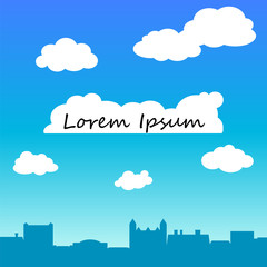 Retro town rooftops and sky vector background with text place.