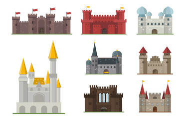 Cartoon fairy tale castle tower icon cute architecture fantasy house fairytale medieval and princess stronghold design fable isolated vector illustration.