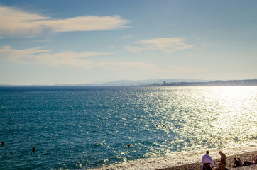 Beach and sea in Nice, Cote d'Azur, French Riviera, France