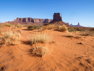 Landscape of the ancient rocks. Monument Valley, Arizona.