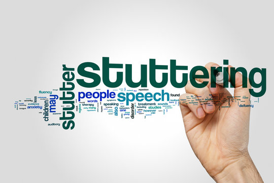 Stuttering word cloud concept