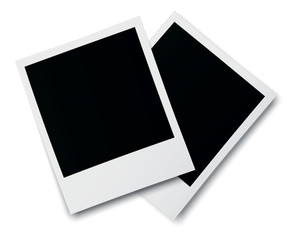 Realistic old photo frames isolated on white background. Template retro photo design. 3D illustration.
