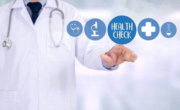 HEALTH CHECK Medicine doctor working with computer interface as medical.