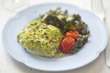 Cod with parsley crumb kale and cherry tomatoes