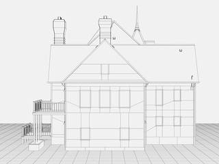 computer rendered line art schematic like illustration of a house