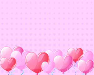Pink heart air balloons vintage banner background for St Valentine Day.