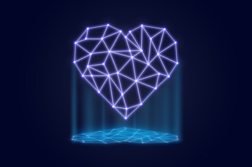 polygonal heart shape writing by lines and dots with shadow over dark blue background, physician technology and network connections concept