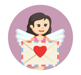 female cupid showing love letter in circle background