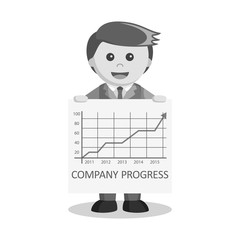 black and white businessman and progress poster
