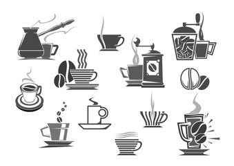 Coffee drinks and coffeemakers vector icons
