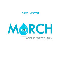 "Blue ""March"" Typographical Design Elements.World Water Day icon.Minimalistic design for World Water Day concept."