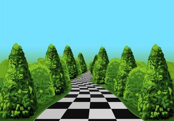 Printed kitchen splashbacks Fairytale World Wonderland Road