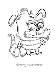 Cute and Funny Halloween Monster Coloring Page - Furry Monster