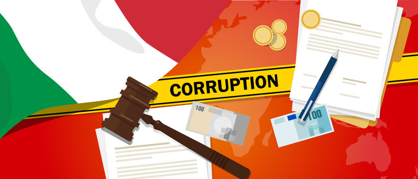 Italy corruption money bribery financial law contract police line for a case scandal government official