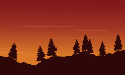 Silhouette of tree lined with orange sky scenery