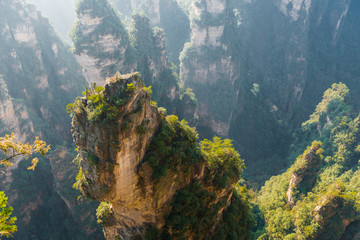 mountain landscape of Zhangjiajie, a national park in China known for its surreal scenery of rock formations.