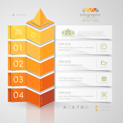 Infographics design template with business icons, process diagram, vector eps10 illustration